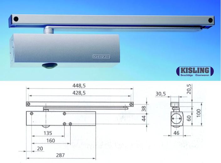 GEZE TS 5000 ECline Türschliesser komplett mit Gleitschiene barrierefrei